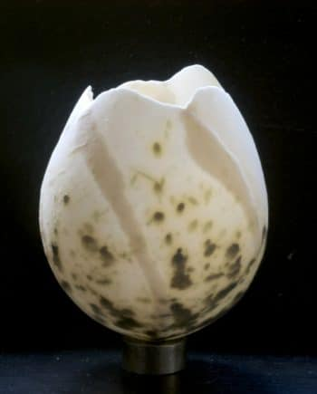 Eggshell with Natural Green Stains, on Ironfoot