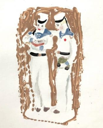 Two Sailors Reading Book